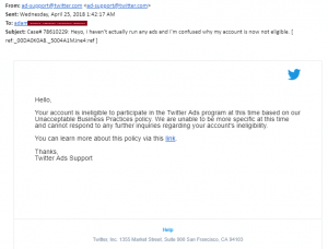 Twitter Ad Platform Support Reponse - Very Unhelpful