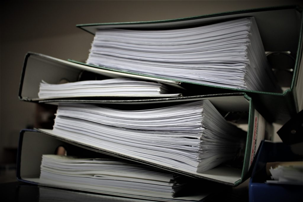 Binders of documents and clutter